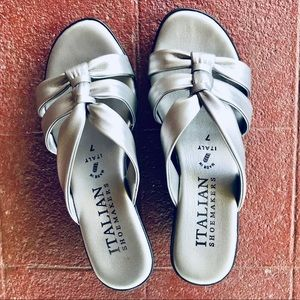 Italian Shoemakers Silver Wedge Shoes Sandals, 7